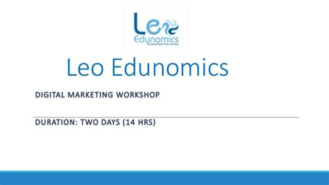 digital marketing course duration leo edunomics digital marketing 2 days
