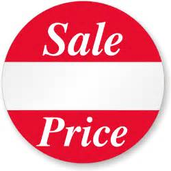 "Sale Price, 1"" Diameter, Printed Red Ink, White Semigloss, Removal Adhesive, 500/Roll, Semi-Gloss Paper Labels, 500 Labels"