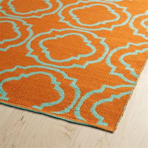 and turquoise rug brisa quatrefoil rug in orange and turquoise