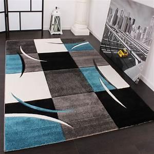 designer teppich mit konturenschnitt karo muster turkis grau With balkon teppich mit graffiti tapete