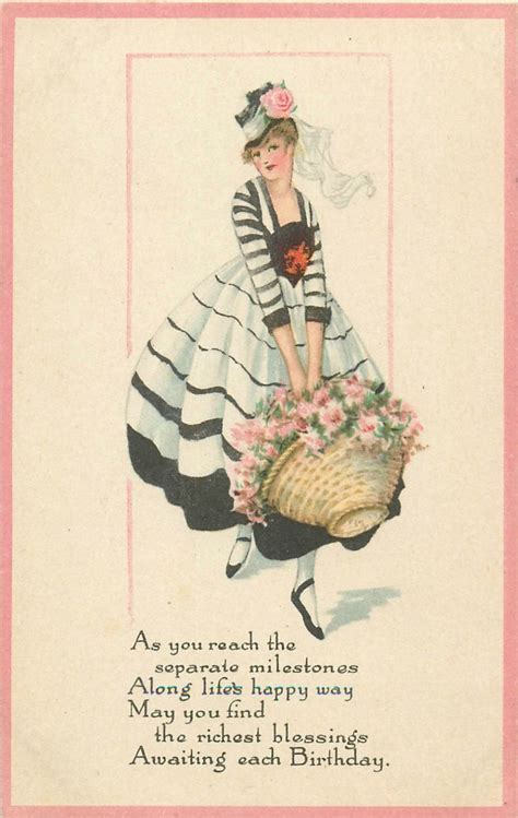 postcard art deco glamour pretty lady  birthday