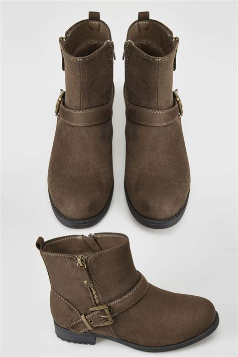 Center Image In Div Brown Buckled Ankle Boots In Eee Fit Wide Fit 4eee 5eee