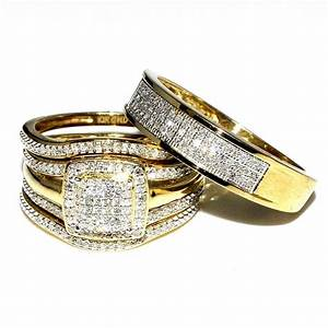 trio wedding rings set bridal set 3 piece and mens wide With 3 piece wedding ring sets