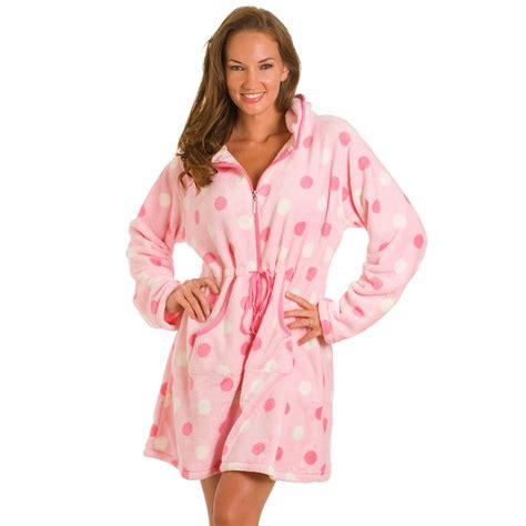 robe de chambre courte femme pink spot zip front robe