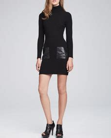milly slim leather pocket dress