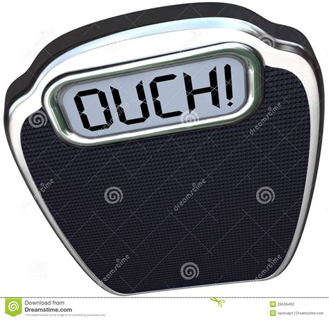 Ouch Word On Scale Lose Weight Diet Exercise Stock