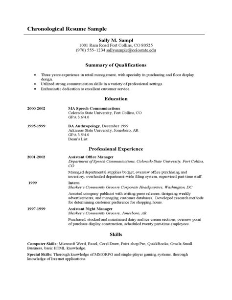 The Chronological Resume Lists The Following by Sle Chronological Resume Free