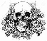Skull Roses Vector Human Realistic Graphic Bones Coloring Crown Pages Crossed Drawing Detailed Adult Skulls Tattoo Tattoos Colouring Drawings Guns sketch template