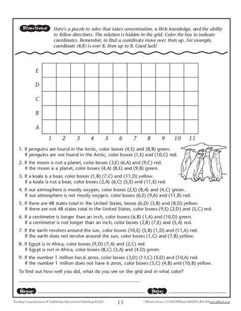 following directions worksheet middle school google search teaching aids middle school