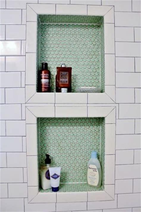 shower niche insert bathroom penny tile shower insert bath ideas juxtapost