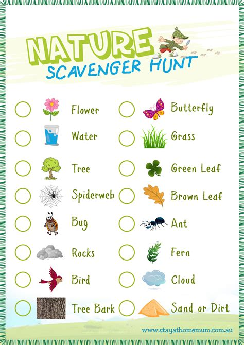 nature scavenger hunt free printable stay at home mum