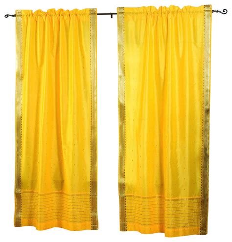pair of yellow rod pocket sheer sari cafe curtains 43 x