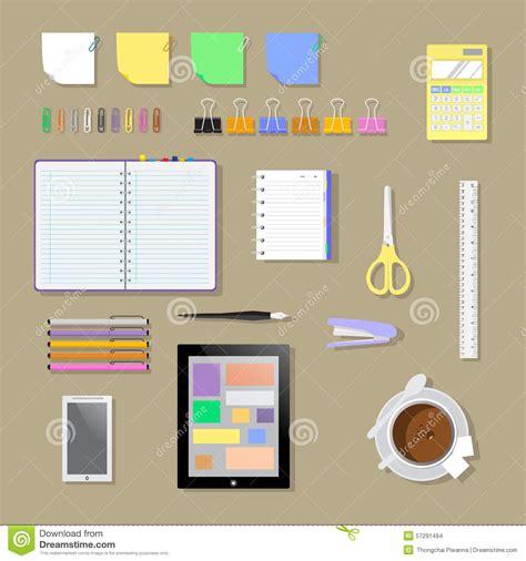 outils de bureau environnement outils et bases plats de lieu de travail de