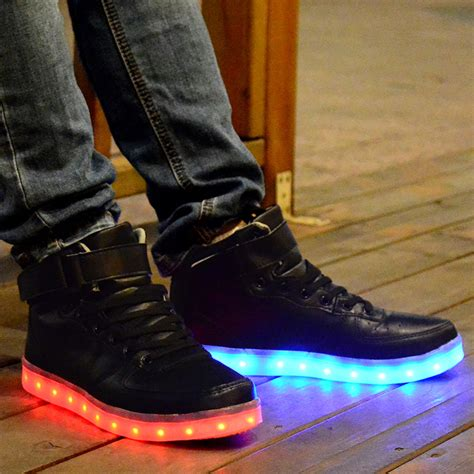 light up shoes adults adults led light up shoes high tops black leather cheap on