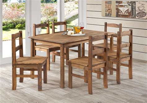 juego de comedor rustico en madera de pino mesa