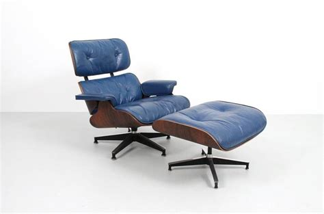 blue leather eames lounge chair and ottoman at 1stdibs