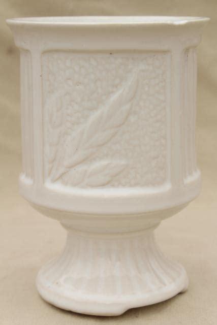 vintage matte glossy ivory white pottery planters pots