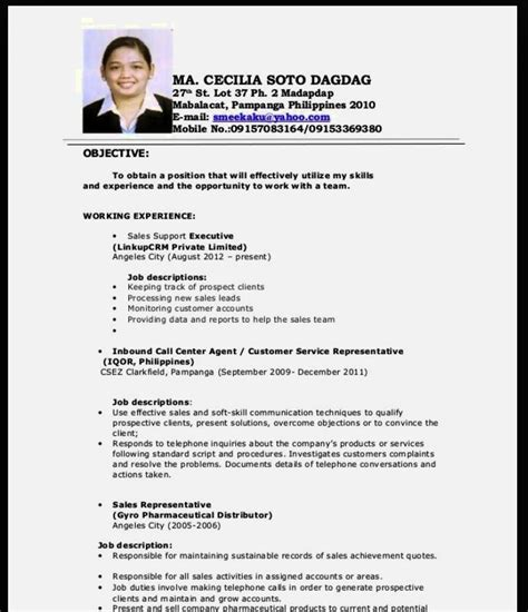 resume sample  fresh graduate interesting cv samples