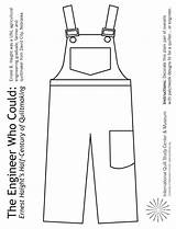 Overalls Coloring Pages Engineer Children Crayons Pair Craft Colored Activities Quilt Using Could Pattern Engineering Markers Museum Copy Quiltstudy Pencils sketch template