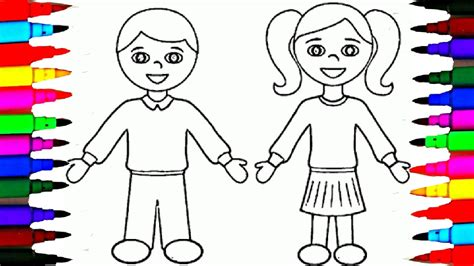 school girl  boy coloring pages  kids drawing coloring