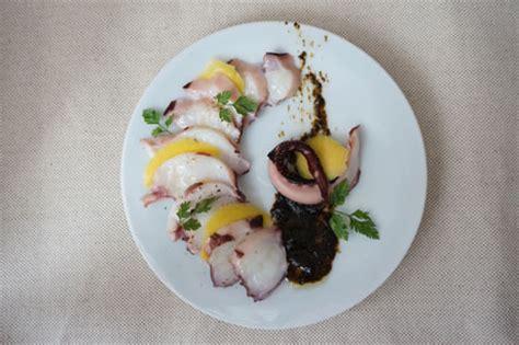 cuisine poulpe carpaccio de poulpe et mangue à la crème de nori japon infos