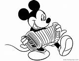 Mickey Coloring Mouse Pages Accordion Disneyclips Playing Disney Funstuff Misc Activities sketch template