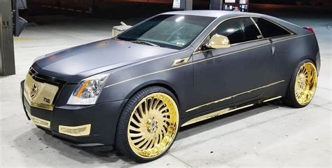 ace 1 matte black cadillac cts coupe on gold 26 quot s fs02