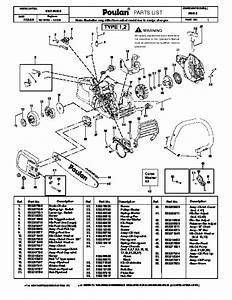 Poulan P3416 Chainsaw Parts List  2008