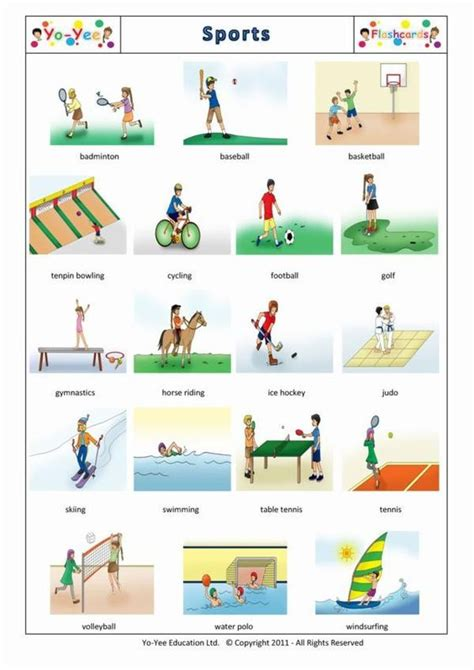 English Sports Flashcards For Children  Sports  Teaching Young Learners Easy English Sports