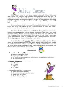 julius caesar worksheets the large and most
