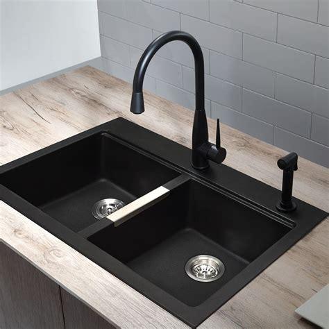 black kitchen sink faucets shop kraus kitchen sink 22 in x 33 in black onyx