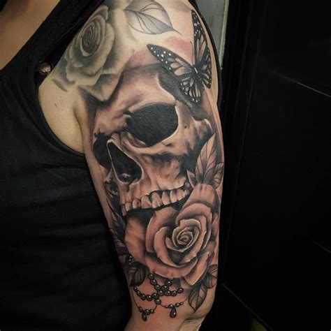Rose And Skull Sleeve Tattoos  Wwwpixsharkcom Images