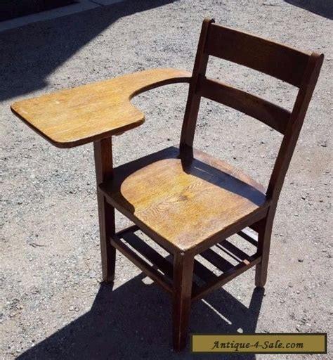 antique school desk chair wood tiger oak mission style