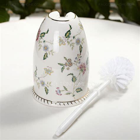 floral white ceramic toilet brush holder freestanding