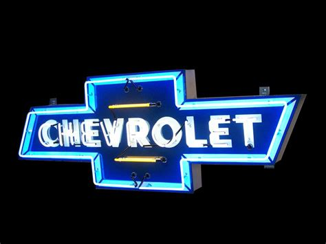 Chevrolet Neon Sign by Striking 1950 Chevrolet Single Sided Neon Porcelain