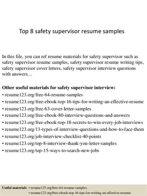 Traffic Coordinator Description by Top 8 Safety Supervisor Resume Sles