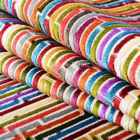 Bright Upholstery Fabric by 10 Metre Of Bright Multicolour Geometric Stripe Pattern