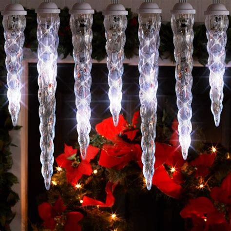 dripping icicle outdoor christmas lights lightshow 10 count led shooting star icicle christmas