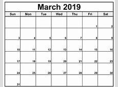 March 2019 Calendar Australia Printable Editable Template