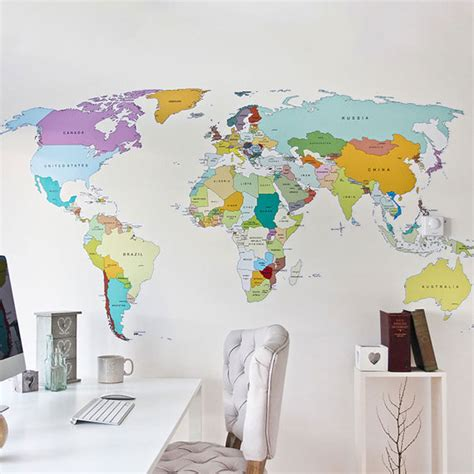 grande carte du monde murale vinyle autocollant