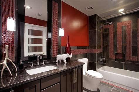 21 Sensational Bathrooms With The Ravishing Flair Of Red Vinyl Flooring For Basement Finished Basements Cost How To Clean Cement Floor Game Room Bikes Contractors Michigan Level A Concrete Finish Stairs