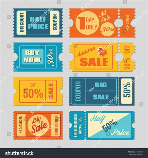 discount coupon sale  vector set stock vector