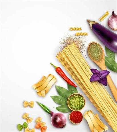 Pasta Template Vector Cooking Realistic Ingredients Spaghetti