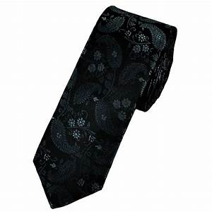 Black, Grey & Silver Floral Patterned Skinny Tie from Ties ...