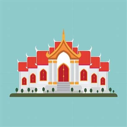 Temple Thai Vector Thailand Illustration Illustrations Clip