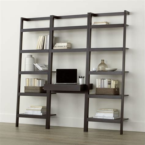 crate and barrel leaning bookshelf desk sawyer mocha leaning desk with two 24 5 quot bookcases