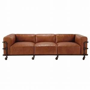 canape vintage 4 places en cuir havane fabric maisons du With tapis yoga avec canapé vintage 4 places