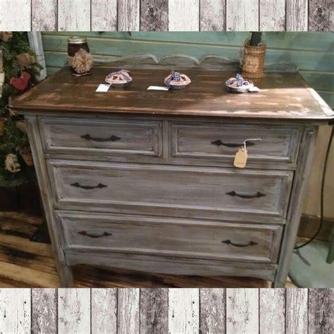 drawer dresser distressed grey  dark walnut stained