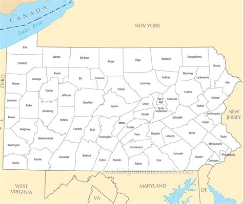 a large detailed pennsylvania state county map