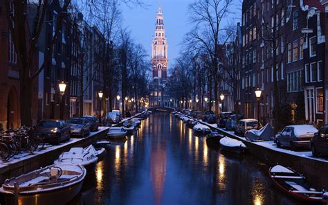 amsterdam netherlands city river boat street light